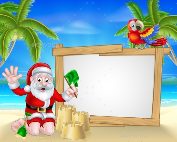Beach Christmas Santa - Christmas Seasons/Holidays
