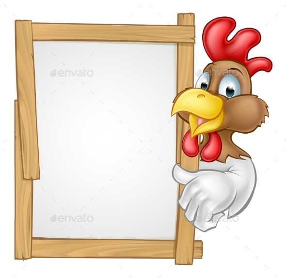 Cartoon Chicken Rooster Sign - Animals Characters