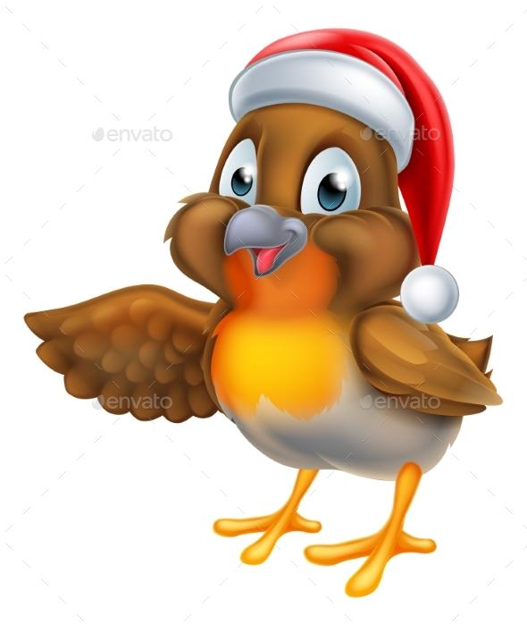 Cartoon Robin Bird in Santa Christmas Hat - Animals Characters