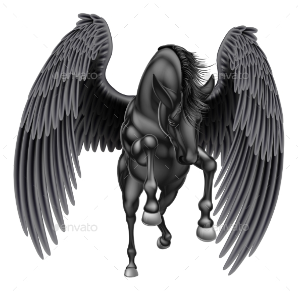 Black Pegasus Winged Horse - Animals Characters