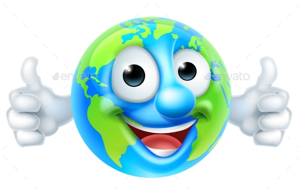 Earth Day Thumbs Up Mascot Cartoon Character - People Characters