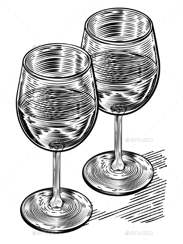 Vinatge Woodblock Style Wine Glasses - Miscellaneous Vectors