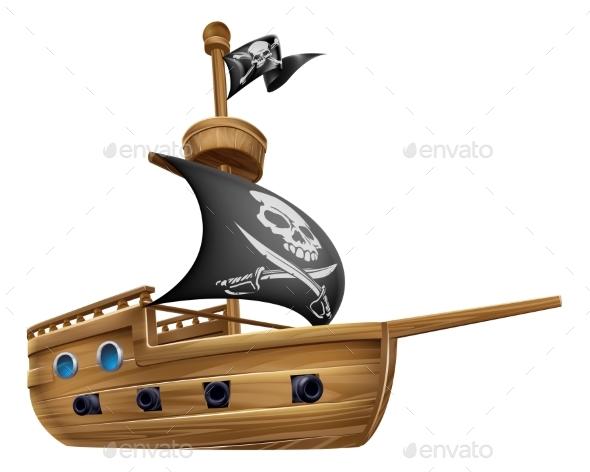 Pirate Ship Cartoon - Miscellaneous Vectors