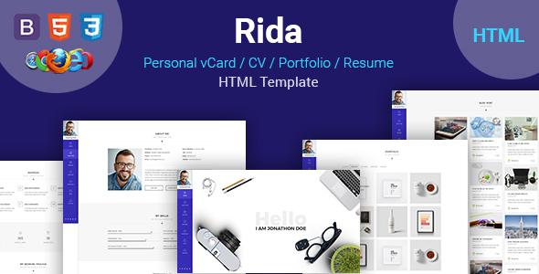 Rida vCard – Responsive HTML5 Portfolio/Resume Template