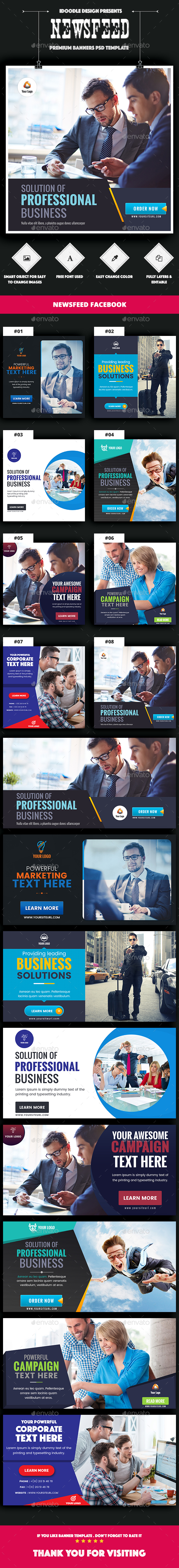 NewsFeed Multipurpose Banner Ads - 16 PSD [02 Size Each] - Banners & Ads Web Elements