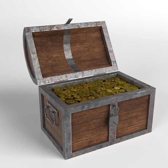 Treasure Chest with Padlock and Coins - 3DOcean Item for Sale