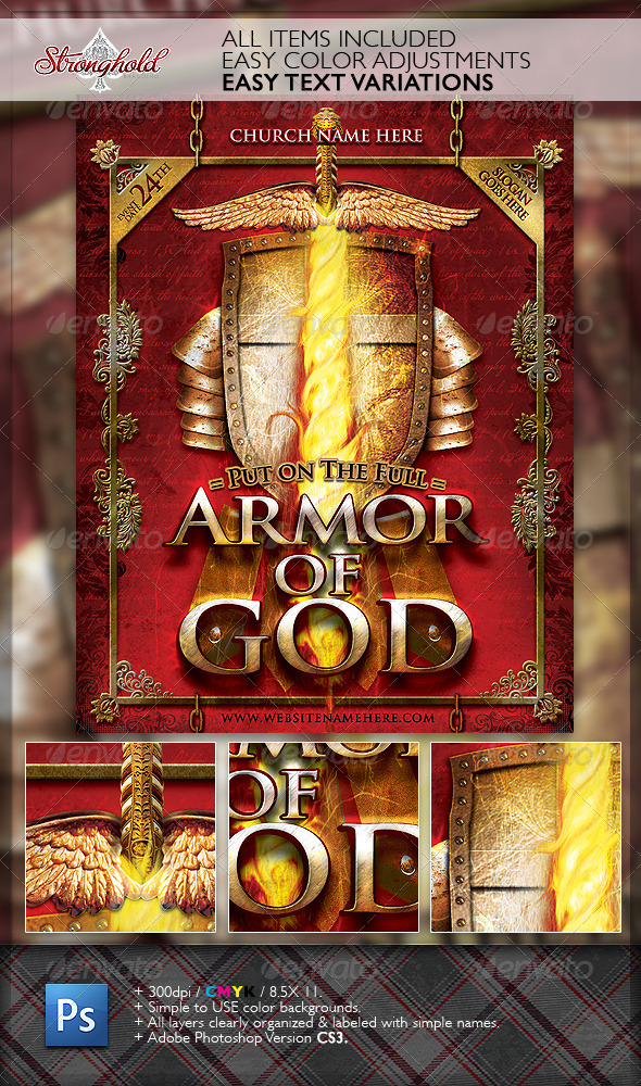 Armor of God Flyer Template - Church Flyers