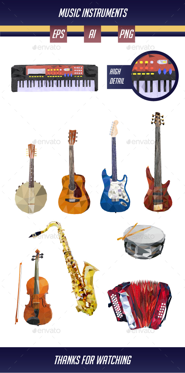 Music Instruments in Low Poly Art - Man-made Objects Objects