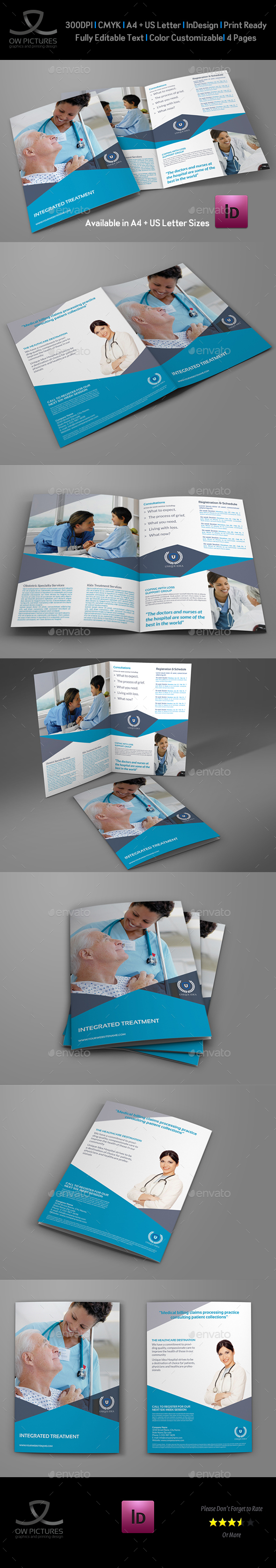 Medical Care Bi-Fold Brochure Template - Brochures Print Templates