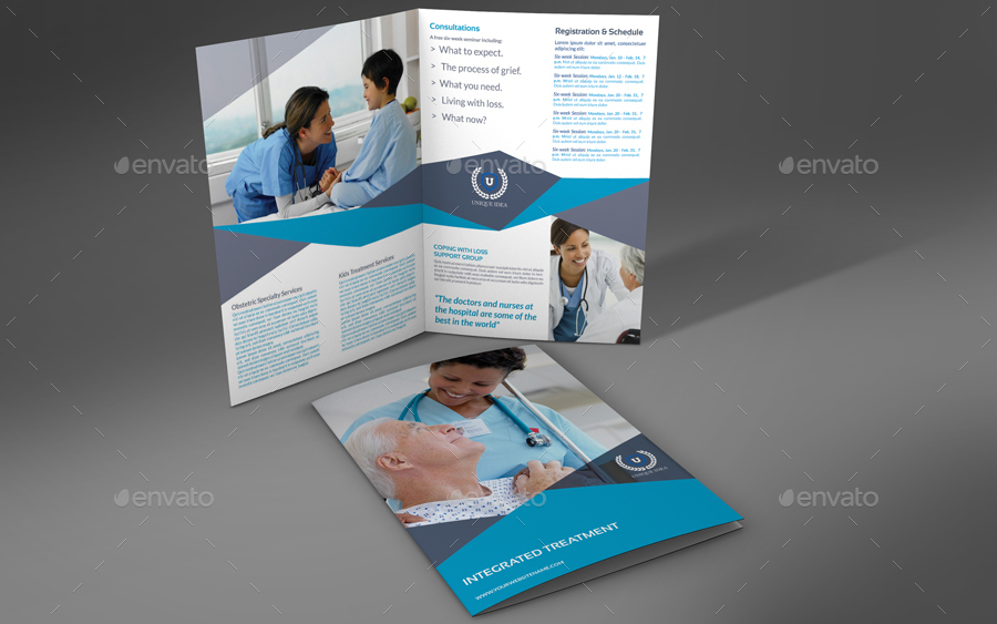 medical care bi fold brochure template