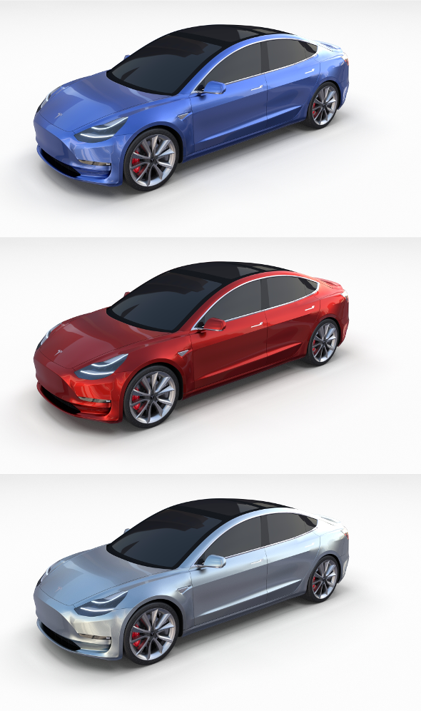 Tesla Model 3 Pack - 3DOcean Item for Sale
