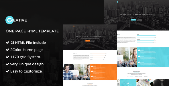 Creative One Page Html5 Template By Themepul Themeforest