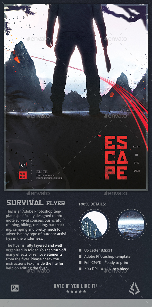 Survival Flyer II - Bushcraft Poster Template - Miscellaneous Events