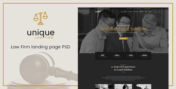 Unique – Law Firm Landing Page PSD Template