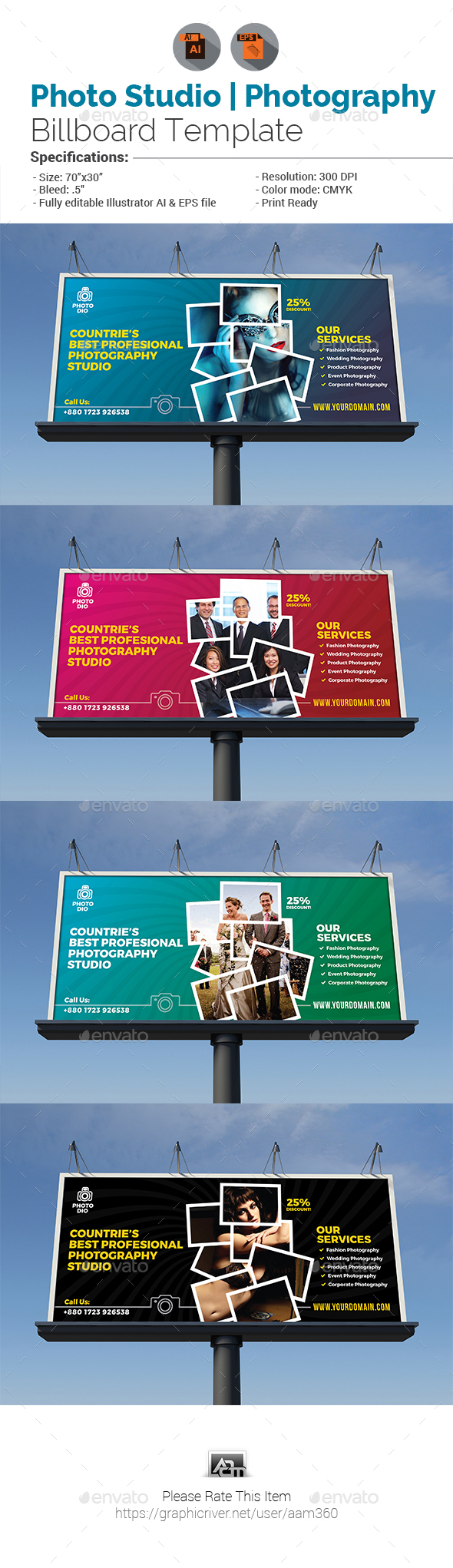 Photo Studio or Photography Billboard - Signage Print Templates