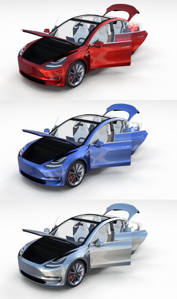 Tesla Model 3 with interior Pack - 3DOcean Item for Sale