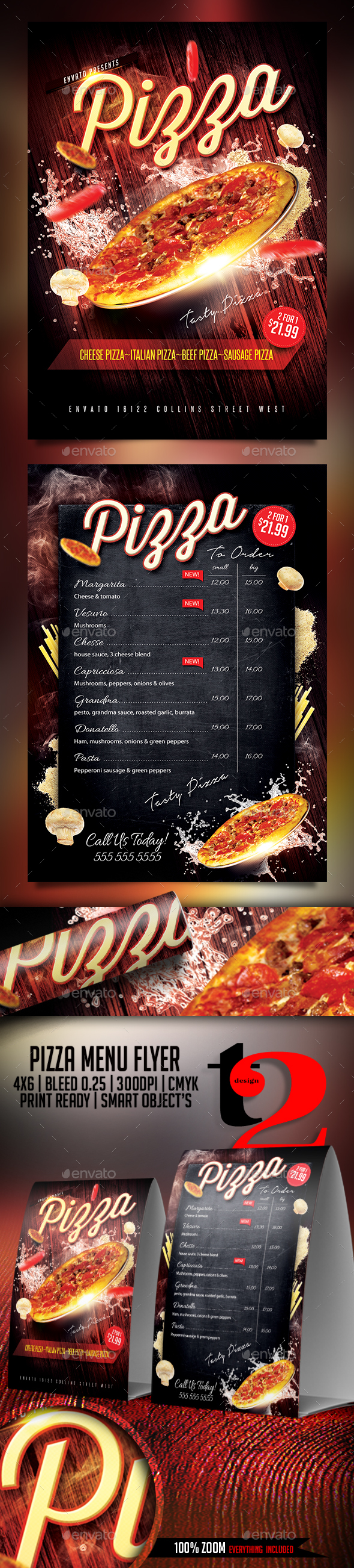 Pizza Menu Flyer Template - Restaurant Flyers