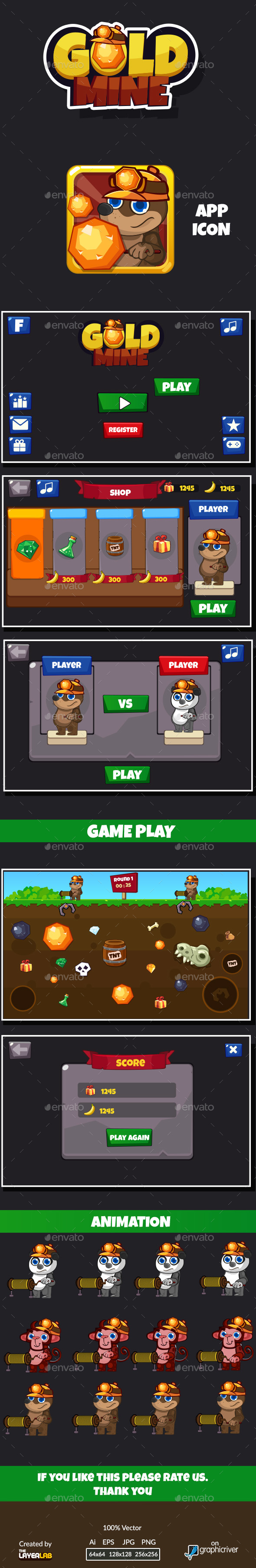 Gold Mine Game GUI - Game Kits Game Assets