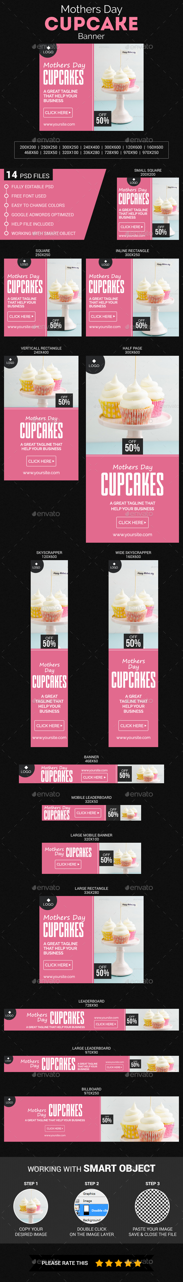 Mothers Day Cupcake - Banners & Ads Web Elements