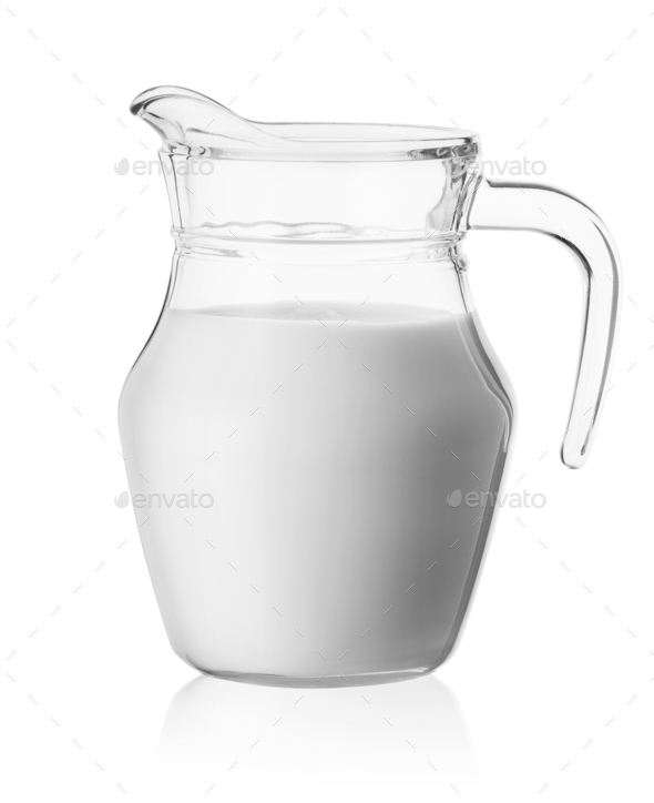 Milk in a glass jug - Stock Photo - Images