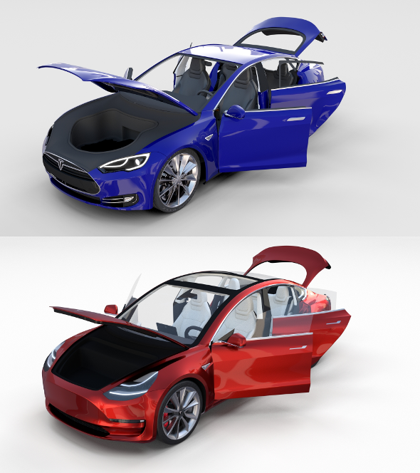 Tesla Model 3 and Model S with interior Pack - 3DOcean Item for Sale