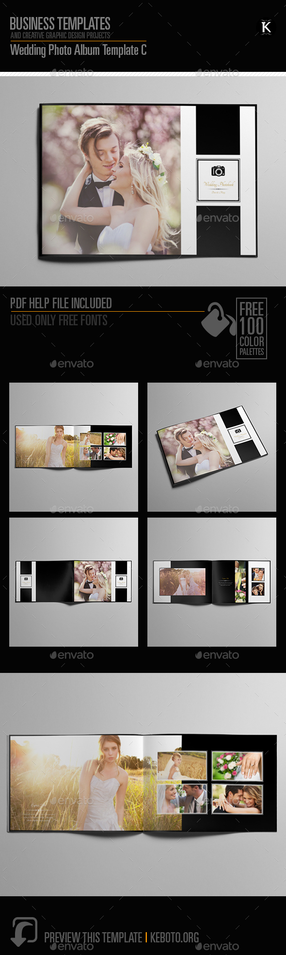 Wedding Photo Album Template C - Photo Albums Print Templates