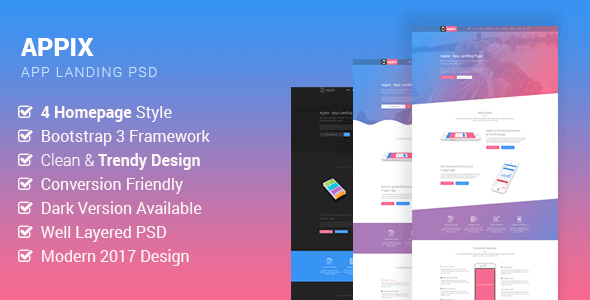Appix – Creative App Landing Page PSD Template