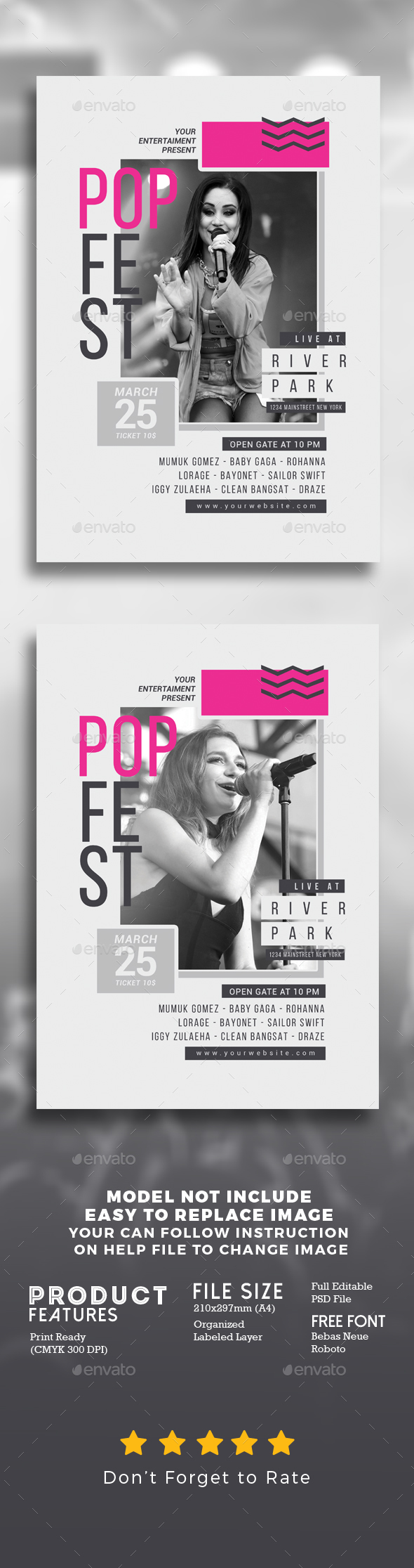 Pop Music Festival - Events Flyers