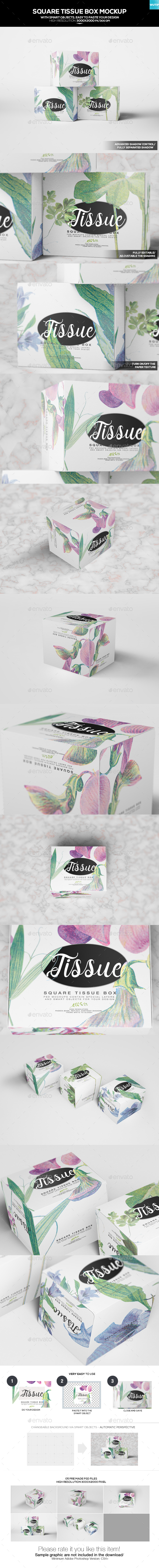 Square Tissue Box Mockup - Miscellaneous Packaging