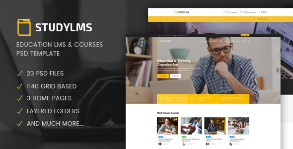 Studylms - Education LMS & Courses PSD Template - Business Corporate