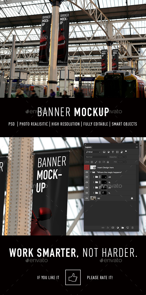 Smart Banner Advertising Mockup PSD Template - Signage Print