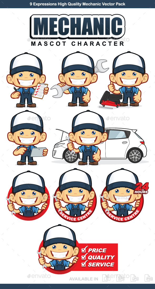 Mechanic Mascot Character - People Characters