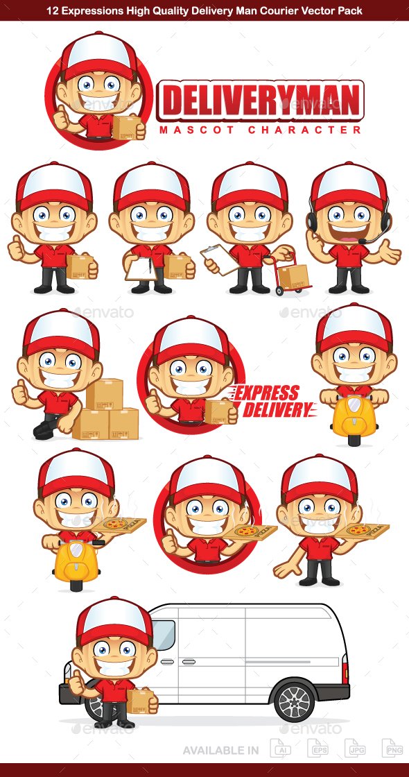 Deliveryman Courier Mascot Character - People Characters