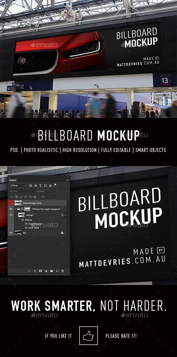 Smart Billboard Advertising Mockup PSD Template - Signage Print