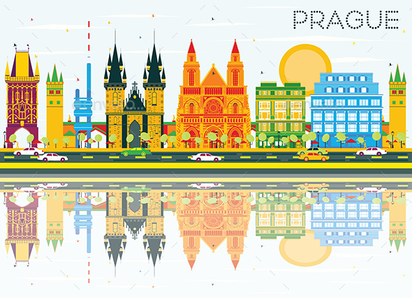 Prague Skyline with Color Buildings, Blue Sky and Reflections. - Buildings Objects