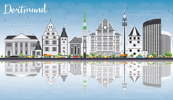 Dortmund Skyline with Gray Buildings, Blue Sky and Reflections. - Buildings Objects