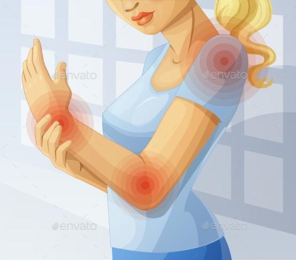 Joint Pain. Cartoon Illustration - Health/Medicine Conceptual
