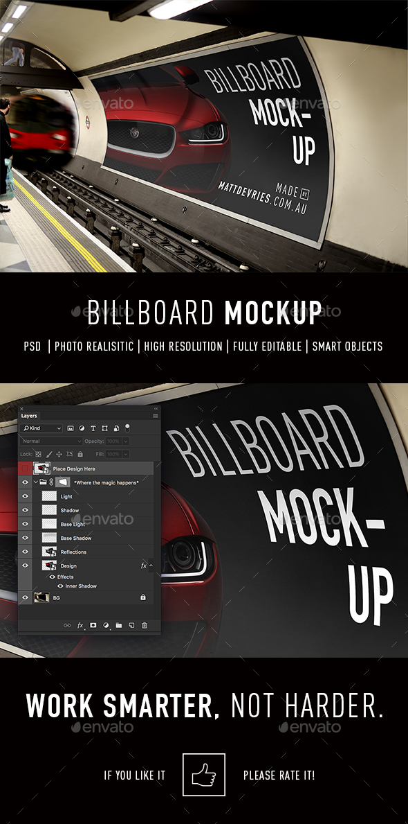 Smart Billboard Advertising Mockup PSD Template - Signage Print