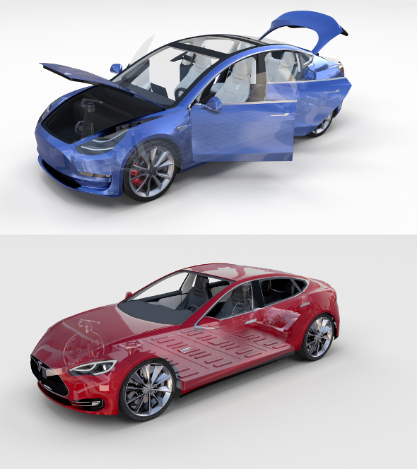 Tesla Model 3 and Model S with interior and chassis Pack - 3DOcean Item for Sale
