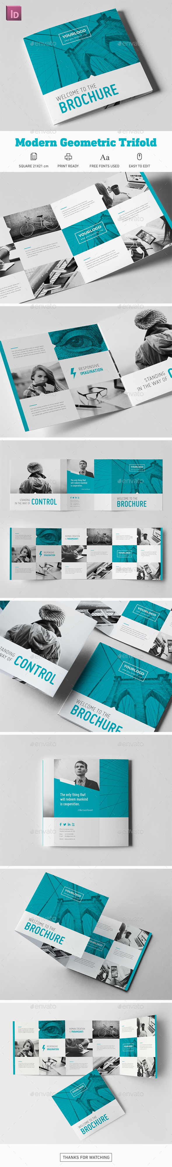 Modern Geometric Square Trifold Brochure - Corporate Brochures