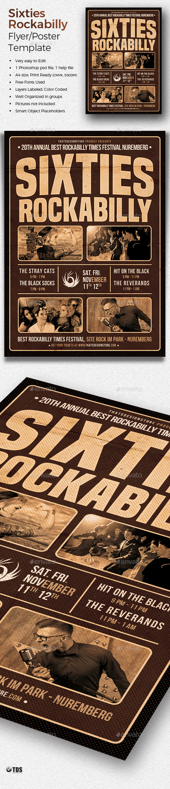 Sixties Rockabilly Flyer Template - Concerts Events