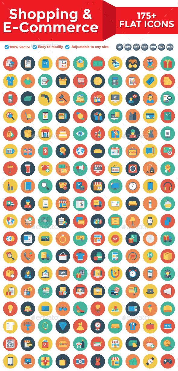 Shopping and E-Commerce Flat Circle Icons - Web Icons