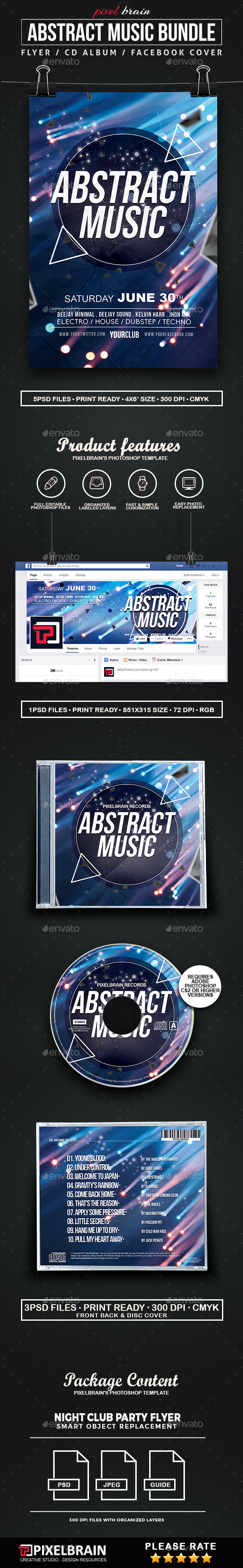 Abstract Music Template Bundle - Print Templates