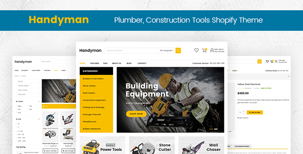 Handyman – Drag & Drop Plumber, Construction Tools Shopify Theme