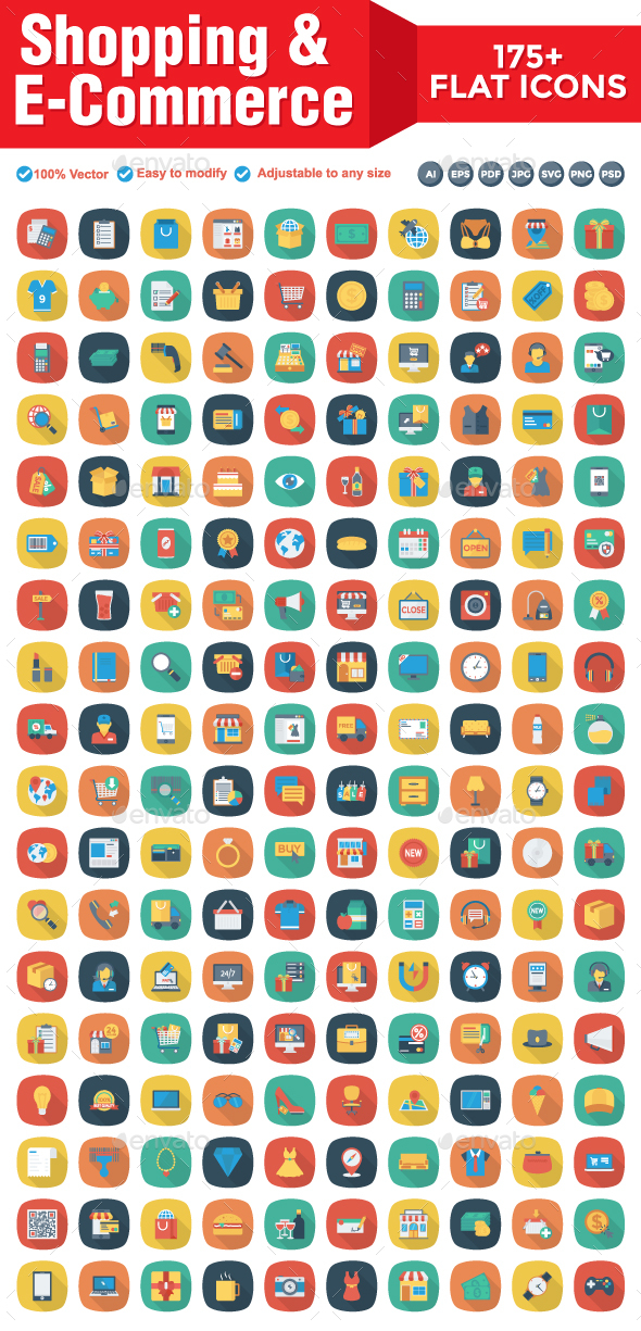 Shopping and E-Commerce Flat Square Icons - Web Icons