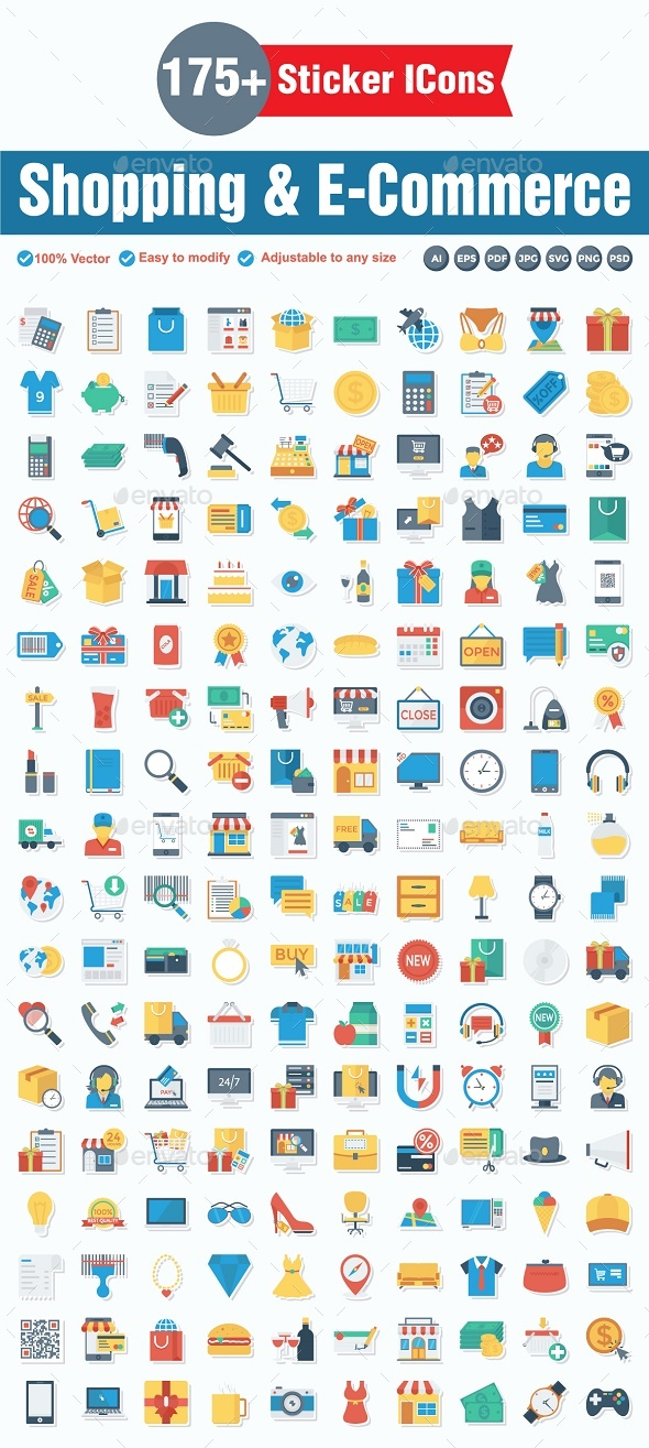 Shopping and E-Commerce Flat Paper - Web Icons