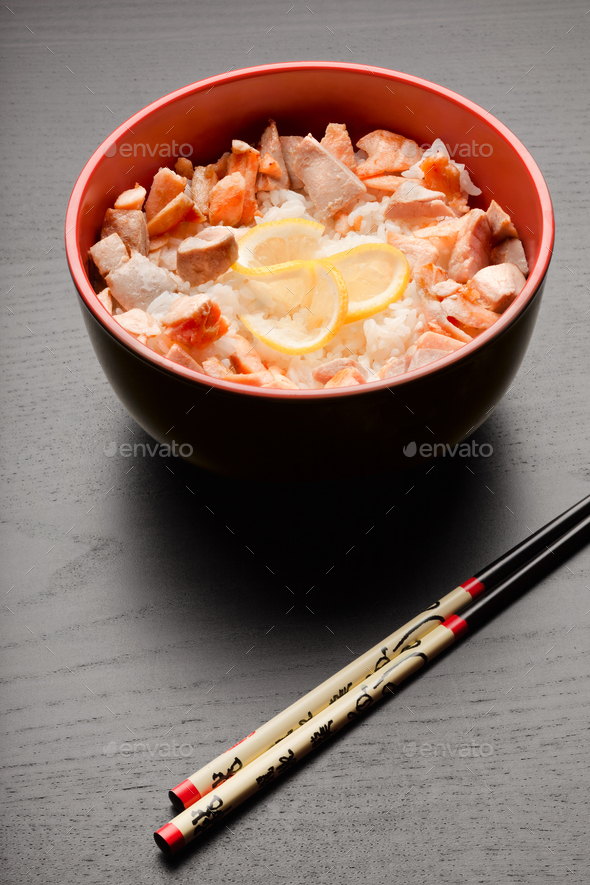 Rice and fishes. - Stock Photo - Images