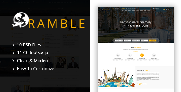 Ramble – Tour & Travel PSD Template
