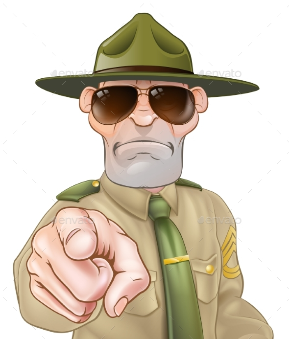 Angry Drill Sergeant Pointing - Animals Characters