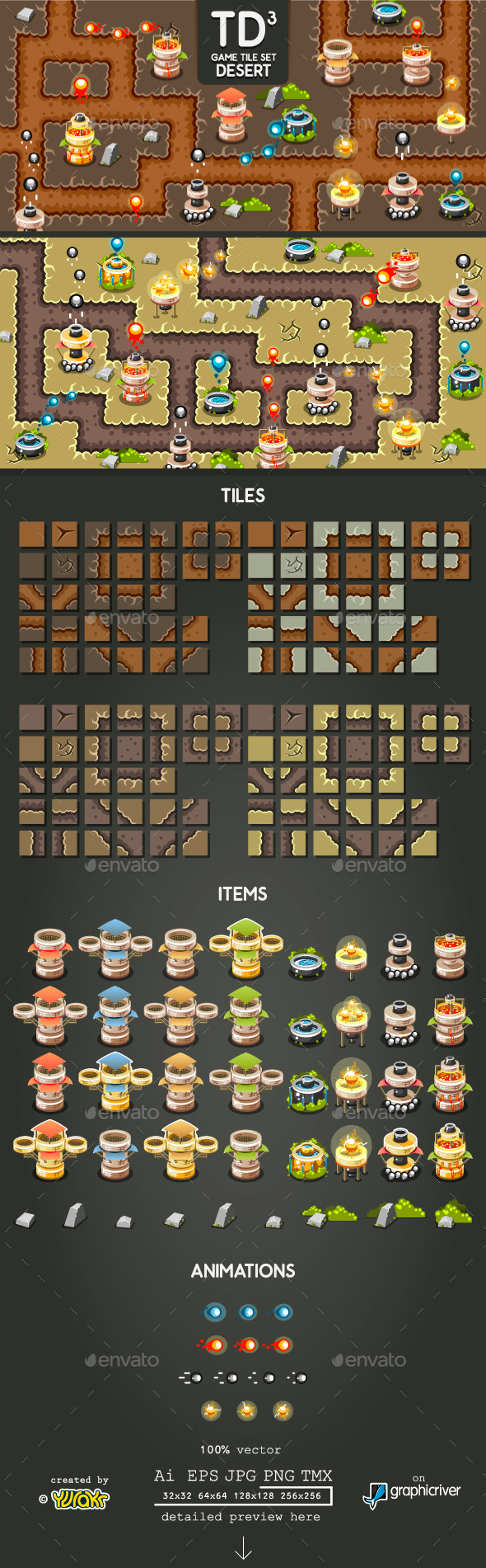 Tower Defence Game Tile Set Three - Tilesets Game Assets